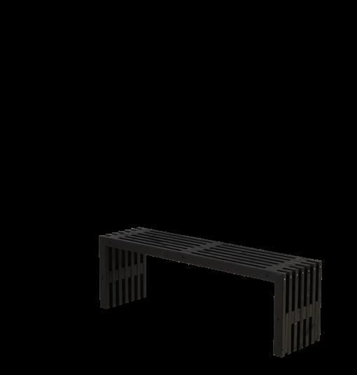 Plus Rustik Lattenbank Design 138x36x45cm - farbgrundiert schwarz