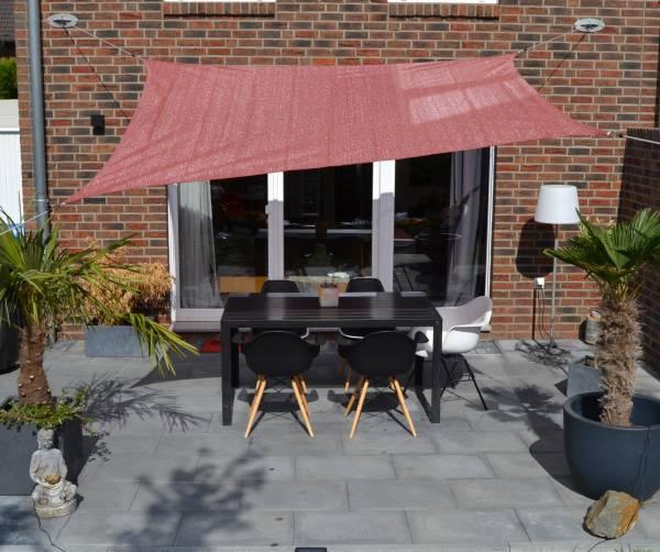 Vierecksonnensegel 250 x 300 cm - HDPE - Farbe terracotta