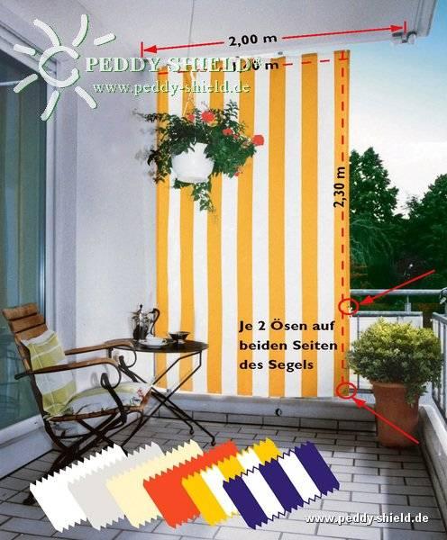 Komplett-Set Senkrecht-Sonnensegel 230 x 140 cm -Farbe terracotta- inkl. Bausatz