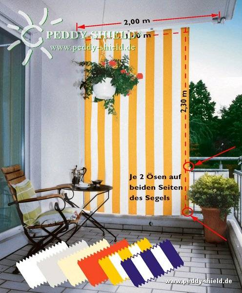 Komplett-Set Senkrecht-Sonnensegel 230 x 140 cm -Farbe gelb-weiß- inkl. Bausatz