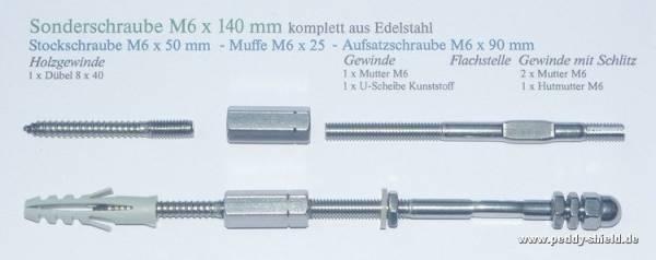 Zusatzartikel Sonderschraube M6x140 mm - Edelstahl