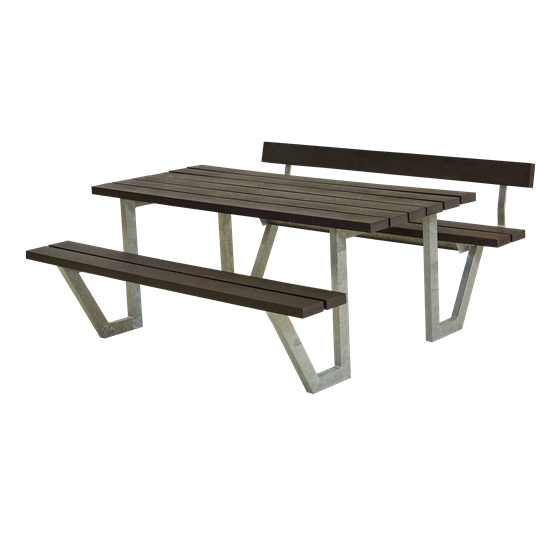 Plus Wega Sitzgruppe m/1 Rückenlehne 177x173x73/45 cm. recycelter Kunststoff schwarz