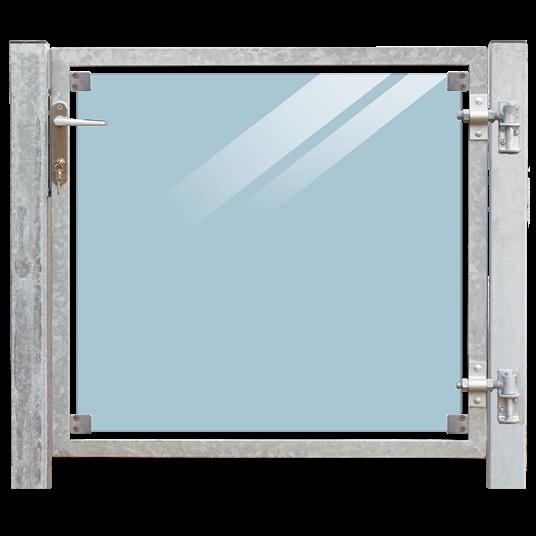 Plus Glas Terrassen Tor rechts 99x91 cm. + 16 cm. Pfosten z/Einbetonieren. Laminiertes klares Glas.