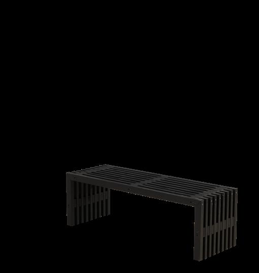 Plus Rustik Lattenbank Design 138x49x45cm - farbgrundiert schwarz