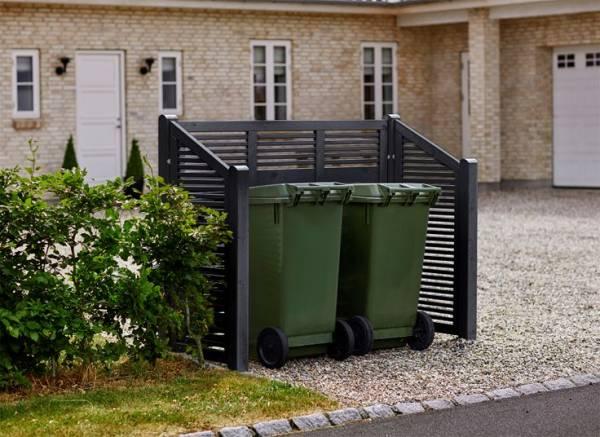 Plus Silence Mülltonnenabtrennung 194x82x140/110 cm (LxBxH) farblich schwarz behandelt