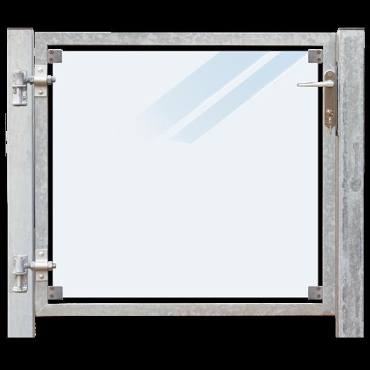 Plus Glas Terrassen Tor links 99x91 cm. + 16 cm. Pfosten z/Einbetonieren. Laminiertes satiniertes Gl
