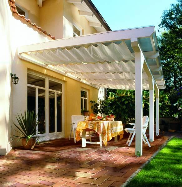 Sonnensegel 420 x 140 cm - Farbe hell elfenbein