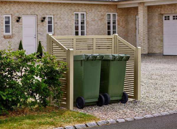 Plus Silence Mülltonnenabtrennung 194x82x140/110 cm (LxBxH) farblich graubraun behandelt