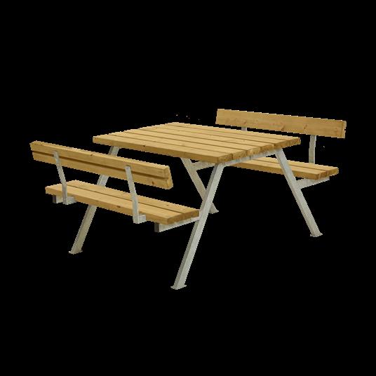 Plus Alpha Sitzgruppe m/2 Rückenlehnen 118x185x73/45 cm. unbehandelte Lärche