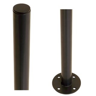 Plus Stahlpfosten rund m/Fuss Ø42,4mm x 96cm Pulverlakiert 7021 Grauschwarz