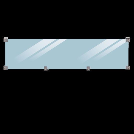 Plus GlasZaun 174x44,6 cm, 6mm gehärtetes glas inkl. beslag og glasliste