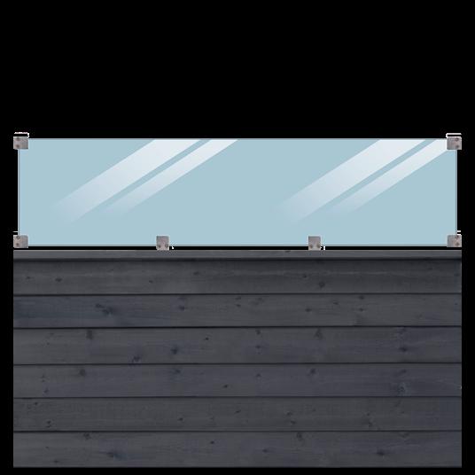 Plus Klink Profil-Zaun inkl. glas 174x125cm inkl. mellemTop-Abschlussbrett