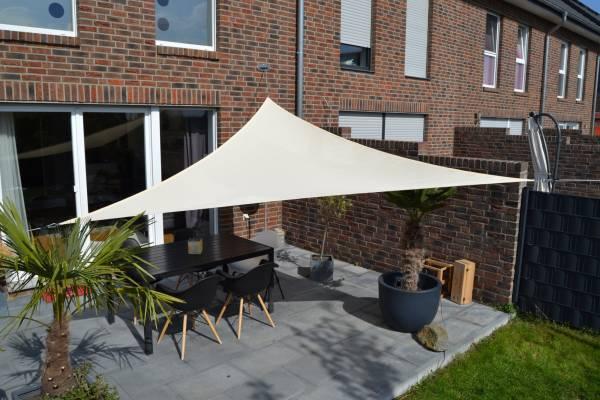 Dreiecksonnensegel 360 cm - Polyester - Farbe hell elfenbein