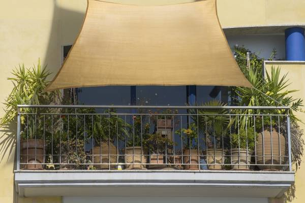 Balkon-Sonnensegel weizen HDPE