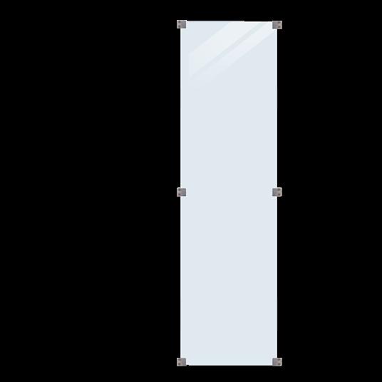 Plus Glaszaun 55,4x176cm inkl. 6 Glasbeschläge, 6mm gehärtetes Glas klar