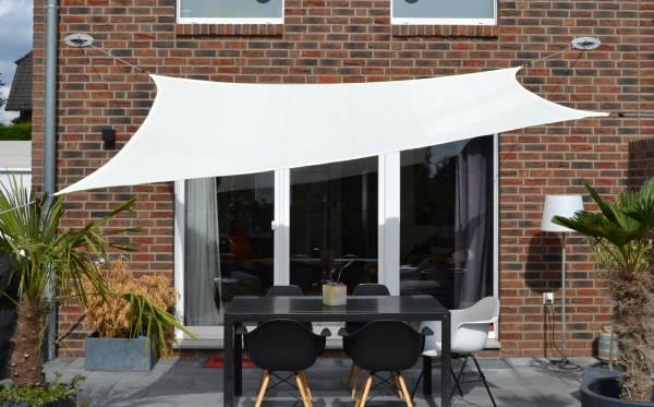 Vierecksonnensegel 250 x 300 cm - HDPE - Farbe creme weiß
