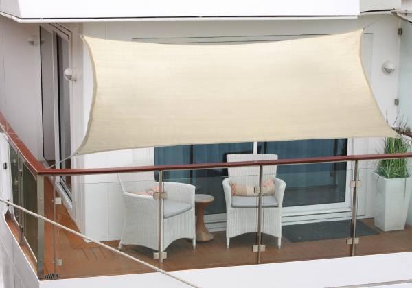 Balkon-Sonnensegel 270 x 140cm elfenbein Polyesterstoff