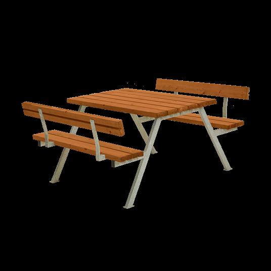 Plus Alpha Sitzgruppe m/2 Rückenlehnen 118x185x73/45 cm. Farblich behandelt teak