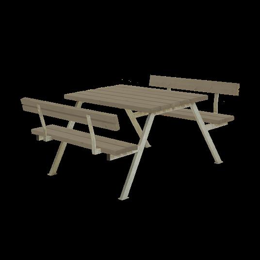 Plus Alpha Sitzgruppe m/2 Rückenlehnen 118x185x73/45 cm. Farblich behandelt graubraun