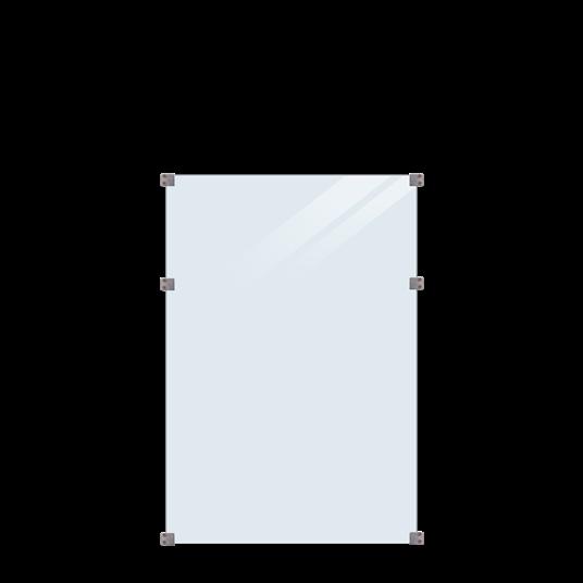 Plus Glaszaun 90x127cm inkl. 6 Glasbeschläge, 6mm gehärtetes Glas klar