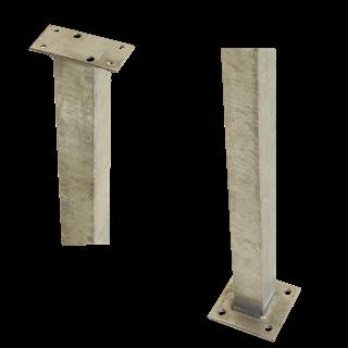 Plus Stahlpfosten m/Fuss f/Geländer 4,5x4,5x103,3 cm feuerverzinkt