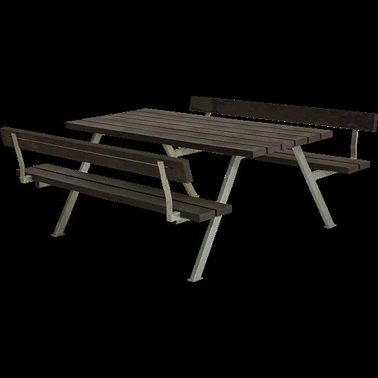 Plus Alpha Sitzgruppe m/2 Rückenlehnen 177x185x73/45 cm. recycelter Kunststoff schwarz