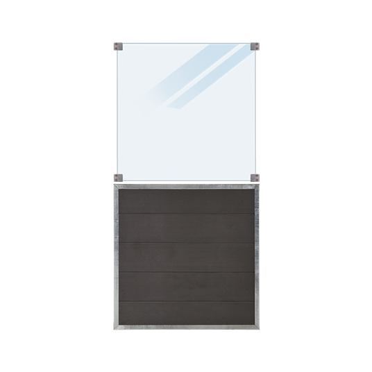 Plus Futura WPC Zaun mit mattes Glas - 90x180 cm