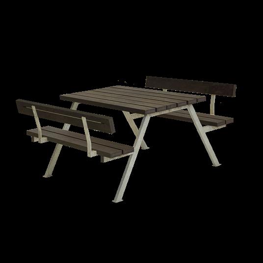 Plus Alpha Sitzgruppe m/2 Rückenlehnen 118x185x73/45 cm. recycelter Kunststoff schwarz