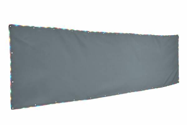Balkonumrandung 90 x 300 cm - Farbe silbergrau mit Lichtband Bunt