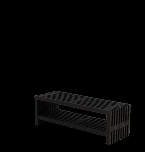 Plus Rustik Lattenbank Design 138x49x45cm m/Regal - farbgrundiert schwarz