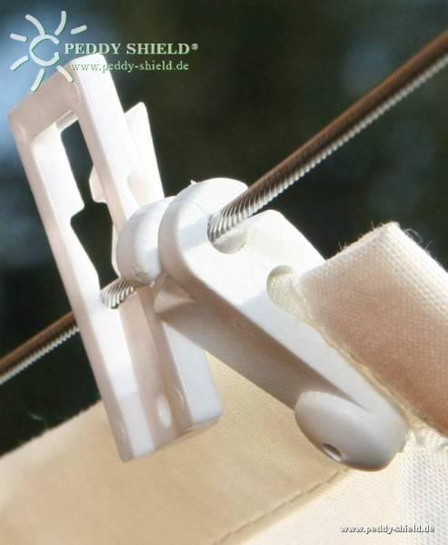 Laufhaken für alle Sonnensegel in Seilspanntechnik - 20 Stück - Farbe weiß