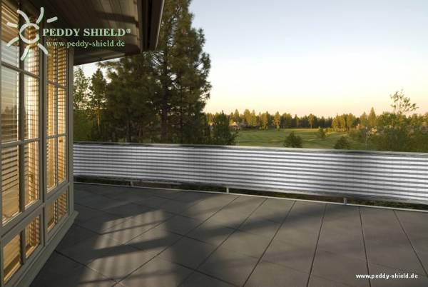 Balkonsichtschutz aus HDPE-Gewebe mit Metallösen und Kordel - Farbe grau-weiß