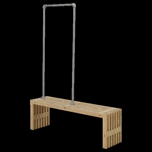 Plus Rustik Latten Garderobe Design 138x36x45 cm farbgrundiert Treibholz