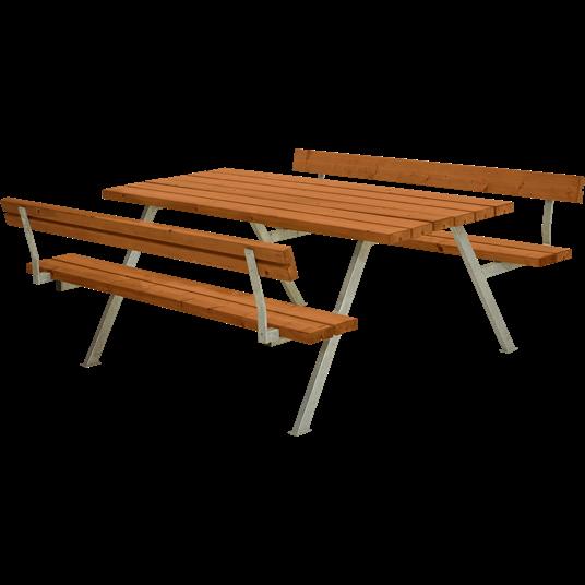 Plus Alpha Sitzgruppe m/2 Rückenlehnen 177x185x73/45 cm. Farblich behandelt teak