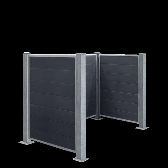 Plus Futura Mülltonnenabtrennung - Stahlpfosten f/Fundamentsmontage 198x108x127 cm.