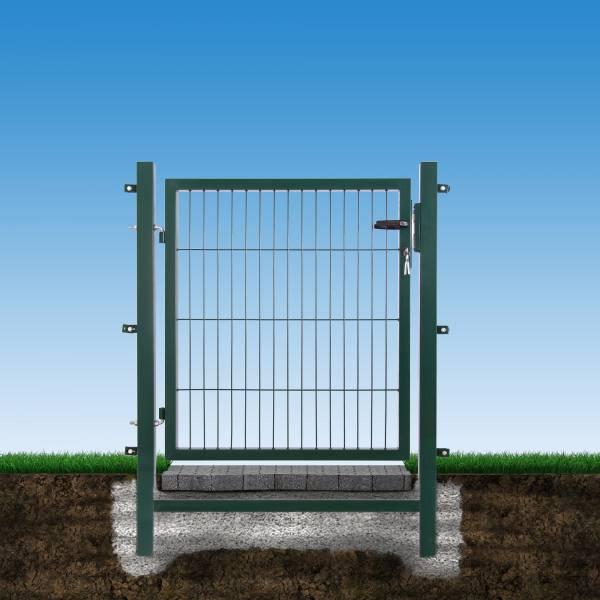 Gartentor für Stabmatte in grün vor blauem Hintergrund