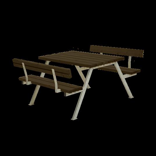 Plus Alpha Sitzgruppe m/2 Rückenlehnen 118x185x73/45 cm - Farblich behandelt schwarz