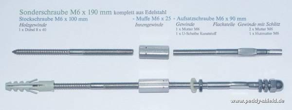 Zusatzartikel Sonderschraube M6x190 mm - Edelstahl
