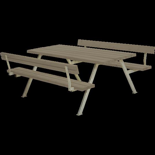 Plus Alpha Sitzgruppe m/2 Rückenlehnen 177x185x73/45 cm. Farblich behandelt graubraun