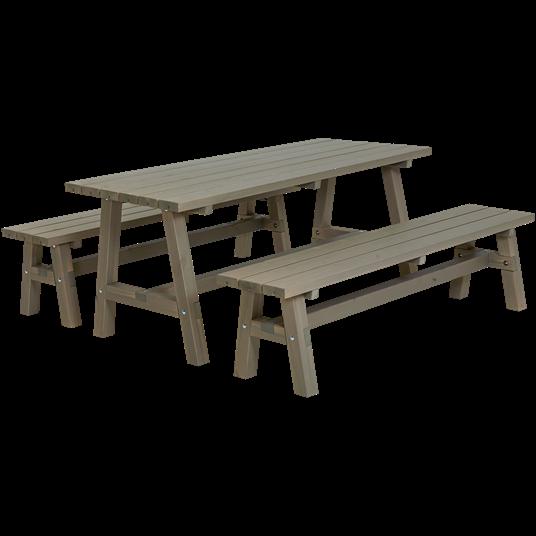 Plus Country Plankenset - bestehend aus 1 Tisch und 2 Bänken - Farblich behandelt graubraun