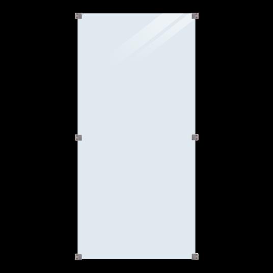 Plus Glaszaun 90x180cm inkl. 6 Glasbeschläge, 6mm gehärtetes Glas klar