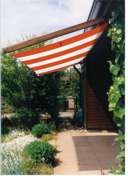 Sonnensegel 270 x 140 cm - Farbe orange-weiß