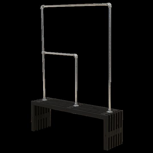 Plus Rustik Latten Garderobe Design 138x36x45 cm farbgrundiert schwarz