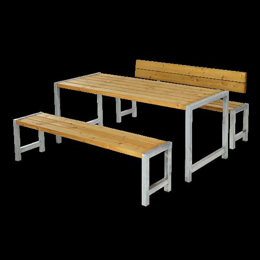 Plus Plankensatz m/Tisch + 2 Bänke + 1 Lehne