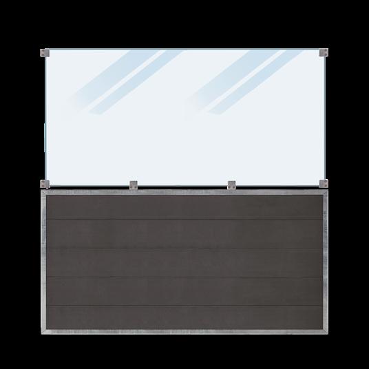 Plus Futura WPC Zaun mit mattes Glas - 180x180 cm