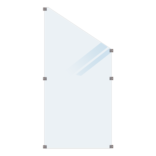 Plus Glaszaun 90x180/127cm inkl. 6 Glasbeschläge, 6mm gehärtetes Glas satiniert