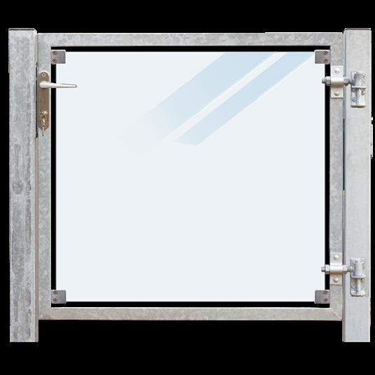 Plus Glas Terrassen Tor rechts 99x91 cm. + 16 cm. Pfosten z/Einbetonieren. Laminiertes satiniertes G