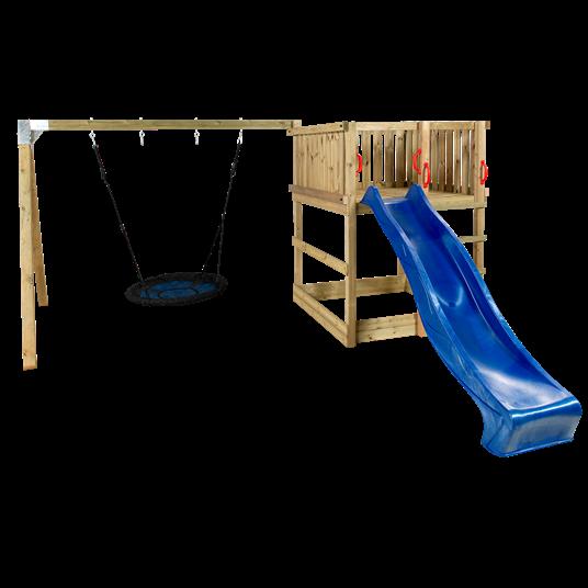 Plus Play Spielturm mit Schaukelständer einschl. blauer Rutsche