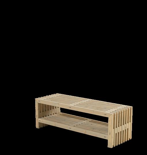 Plus Rustik Lattenbank Design 138x49x45cm m/Regal - farbgrundiert Treibholz
