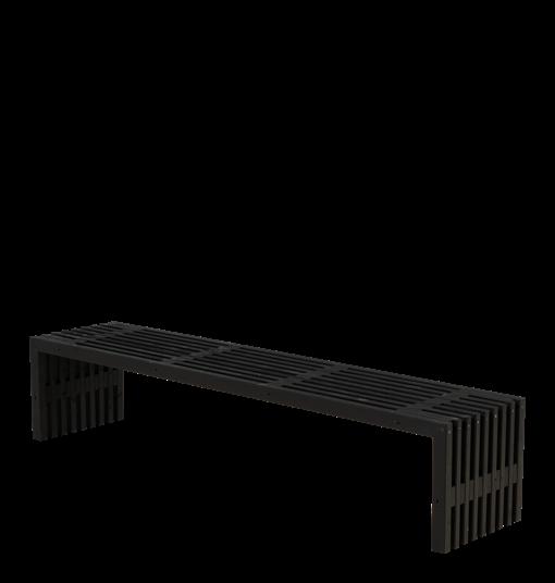 Plus Rustik Lattenbank Design 218x49x45cm - farbgrundiert schwarz